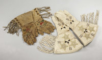 "2 PAIR OF VINTAGE BEADED ""WILD WEST SHOW"" GAUNTLETS - a) Men's pair of circa 1930's fringed and beaded gauntle..."