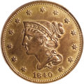 Proof Large Cents: , 1840 1C PR63 Red and Brown PCGS. N-2, High R.6 as a proof.Blundered date with sharply repunched 18, a rather surprising ch...