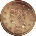 "Proof Large Cents: , 1841 1C PR64 Brown NGC. N-1, R.5. While labeled as a ""Brown"" coin,the surfaces have a remarkable amount of life with small..."