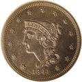 Proof Large Cents: , 1841 1C PR64 Brown PCGS. N-1, R.5. This is a proof-only dievariety, and the only variety of 1841 that was coined in proof ...