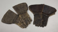 Western Expansion:Cowboy, TWO PAIR OF EARLY LEATHER DRIVING GLOVES - . a) Hansen's in faircondition.. b) Bacmo in poor condition.... (Total: 2 Items)