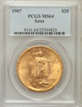 Saint-Gaudens Double Eagles: , 1907 $20 Arabic Numerals MS64 PCGS. PCGS Population (4321/2502).NGC Census: (2067/810). Mintage: 361,667. Numismedia Wsl. ...