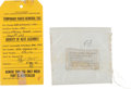 Explorers:Space Exploration, Apollo 15 Lunar Module Flown Electrode Bag Assembly with RockwellParts Removal Tag....