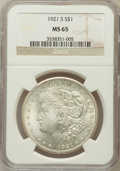 Morgan Dollars: , 1921-S $1 MS65 NGC. NGC Census: (745/55). PCGS Population (771/33).Mintage: 21,695,000. Numismedia Wsl. Price for problem ...