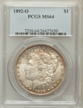 Morgan Dollars: , 1892-O $1 MS64 PCGS. PCGS Population (1878/162). NGC Census:(1394/74). Mintage: 2,744,000. Numismedia Wsl. Price for probl...