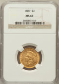 Three Dollar Gold Pieces: , 1889 $3 MS61 NGC. NGC Census: (43/149). PCGS Population (20/229).Mintage: 2,300. Numismedia Wsl. Price for problem free NG...