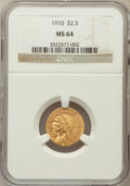 Indian Quarter Eagles: , 1910 $2 1/2 MS64 NGC. NGC Census: (770/186). PCGS Population(394/97). Mintage: 492,000. Numismedia Wsl. Price for problem ...