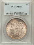 Morgan Dollars: , 1899 $1 MS64 PCGS. PCGS Population (3663/1299). NGC Census:(2806/670). Mintage: 330,846. Numismedia Wsl. Price for problem...