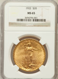 Saint-Gaudens Double Eagles: , 1922 $20 MS65 NGC. NGC Census: (475/7). PCGS Population (1238/7).Mintage: 1,375,500. Numismedia Wsl. Price for problem fre...