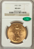 Saint-Gaudens Double Eagles: , 1922 $20 MS64+ NGC. CAC. NGC Census: (7561/482). PCGS Population(7270/1245). Mintage: 1,375,500. Numismedia Wsl. Price for...