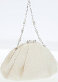 Luxury Accessories:Bags, Judith Leiber Cream Lace Evening Bag with Jeweled Strap. ...