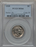 Buffalo Nickels: , 1935 5C MS66 PCGS. PCGS Population (607/114). NGC Census: (312/29).Mintage: 58,264,000. Numismedia Wsl. Price for problem ...