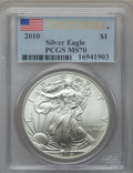 Modern Bullion Coins, 2010 $1 Silver Eagle, First Strike MS70 PCGS. PCGS Population(25693). NGC Census: (44256). ...