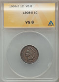 Indian Cents: , 1908-S 1C VG8 ANACS. NGC Census: (31/1530). PCGS Population(56/2351). Mintage: 1,115,000. Numismedia Wsl. Price for proble...