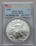 Modern Bullion Coins, 2008 $1 Silver Eagle First Strike MS70 PCGS. PCGS Population(10759). NGC Census: (4152)....