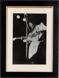 Music Memorabilia:Autographs and Signed Items, Jimi Hendrix Photo with Signed Mat (1969)....