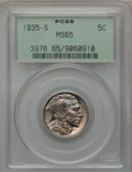Buffalo Nickels: , 1935-S 5C MS65 PCGS. PCGS Population (1004/435). NGC Census:(449/132). Mintage: 10,300,000. Numismedia Wsl. Price for prob...