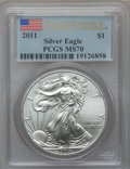 Modern Bullion Coins, 2011 $1 Silver American Eagle, First Strike MS70 PCGS. PCGSPopulation (38356). NGC Census: (52896). ...