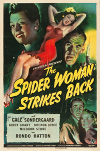 "The Spider Woman Strikes Back (Universal, 1946). Autographed One Sheet (27.25"" X 40.75"")"