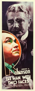 """Movie Posters:Crime, The Man with Two Faces (First National, 1934). Insert (14"""" X 36"""")....."""