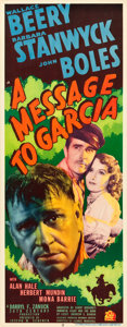 "Movie Posters:Drama, A Message to Garcia (20th Century Fox, 1936). Insert (14"" X 36"")....."