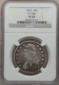 Bust Half Dollars: , 1822 50C VF30 NGC. O-108a. NGC Census: (20/705). PCGS Population(36/701). Mintage: 1,559,573. Numismedia Wsl. Price for p...