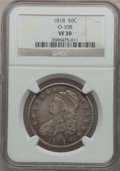 Bust Half Dollars: , 1818 50C VF30 NGC. O-108. NGC Census: (16/676). PCGS Population(42/646). Mintage: 1,960,322. Numismedia Wsl. Price for pr...