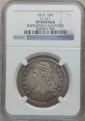 Bust Half Dollars: , 1810 50C -- Improperly Cleaned -- NGC Details. XF. O-101. NGCCensus: (43/491). PCGS Population (100/386). Mintage: 1,276,...