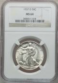 Walking Liberty Half Dollars: , 1937-D 50C MS64 NGC. NGC Census: (341/503). PCGS Population(646/1063). Mintage: 1,676,000. Numismedia Wsl. Price for probl...