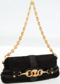 Luxury Accessories:Bags, Gucci Black Satin Evening Bag with Horsebit Clasp and ShoulderChain. ...