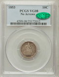 Seated Dimes: , 1853 10C No Arrows VG8 PCGS. CAC. PCGS Population (5/113). NGCCensus: (1/94). Mintage: 95,000. Numismedia Wsl. Price for p...