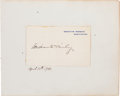 Autographs:U.S. Presidents, William McKinley White House Card Signed.... (Total: 2 Items)