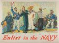 """Military & Patriotic:WWI, WWI Poster """"ALL TOGETHER! Enlist in the NAVY""""...."""