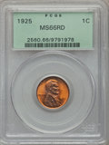 Lincoln Cents: , 1925 1C MS66 Red PCGS. PCGS Population (345/57). NGC Census:(100/26). Mintage: 139,948,992. Numismedia Wsl. Price for prob...