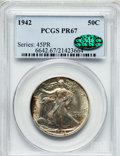 Proof Walking Liberty Half Dollars: , 1942 50C PR67 PCGS. CAC. PCGS Population (754/39). NGC Census:(828/159). Mintage: 21,120. Numismedia Wsl. Price for proble...