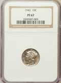 Proof Mercury Dimes: , 1942 10C PR67 NGC. NGC Census: (744/118). PCGS Population (593/41).Mintage: 22,329. Numismedia Wsl. Price for problem free...