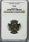 Proof Jefferson Nickels: , 1940 5C Reverse of 1940 PR66 NGC. NGC Census: (341/96). PCGSPopulation (547/115). Mintage: 14,158. Numismedia Wsl. Price f...