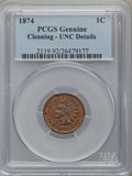 Indian Cents: , 1874 1C Red and Brown -- Cleaning -- PCGS Genuine. UNC Details. NGCCensus: (0/340). PCGS Population (0/480). Mintage: 14,1...