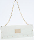 Luxury Accessories:Bags, Gianni Versace White Patent Leather Clutch Bag with Shoulder Chain....