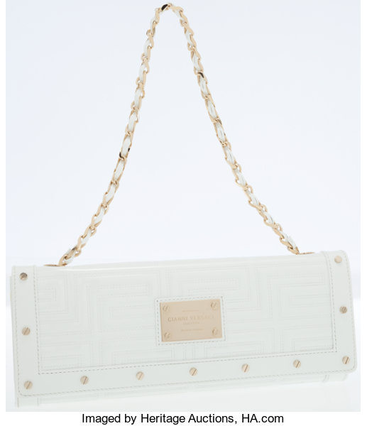 8700df6e55ad Gianni Versace White Patent Leather Clutch Bag with Shoulder