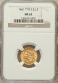 Liberty Quarter Eagles: , 1861 $2 1/2 New Reverse, Type Two MS62 NGC. NGC Census: (391/294).PCGS Population (201/281). Mintage: 1,283,878. Numismedi...