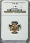 Proof Mercury Dimes: , 1940 10C PR65 NGC. NGC Census: (481/1249). PCGS Population(1008/1206). Mintage: 11,827. Numismedia Wsl. Price for problem ...