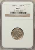 Buffalo Nickels: , 1937-D 5C Three-Legged XF45 NGC. NGC Census: (462/3953). PCGSPopulation (781/3431). Mintage: 17,826,000. Numismedia Wsl. P...