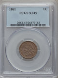 Indian Cents: , 1861 1C XF45 PCGS. PCGS Population (64/1203). NGC Census: (13/828).Mintage: 10,100,000. Numismedia Wsl. Price for problem ...