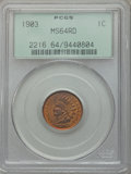 Indian Cents: , 1903 1C MS64 Red PCGS. PCGS Population (296/255). NGC Census:(156/194). Mintage: 85,094,496. Numismedia Wsl. Price for pro...
