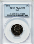 Proof Jefferson Nickels, 1971 5C No S PR68 Cameo PCGS....
