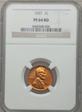 Proof Lincoln Cents: , 1937 1C PR64 Red NGC. NGC Census: (194/260). PCGS Population(598/581). Mintage: 9,320. Numismedia Wsl. Price for problem f...