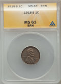 Lincoln Cents: , 1918-S 1C MS63 Brown ANACS. NGC Census: (60/58). PCGS Population(69/61). Mintage: 34,680,000. Numismedia Wsl. Price for pr...