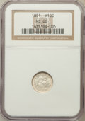 Seated Half Dimes, 1851 H10C MS66 NGC....