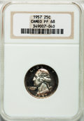 Proof Washington Quarters: , 1957 25C PR68 Cameo NGC. NGC Census: (178/55). PCGS Population(107/5). Numismedia Wsl. Price for problem free NGC/PCGS co...